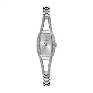 Authentic GUESS Women's Silver-Tone Crystal Watch